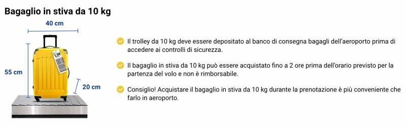 Bagaglio da stiva 10 kg Ryanair
