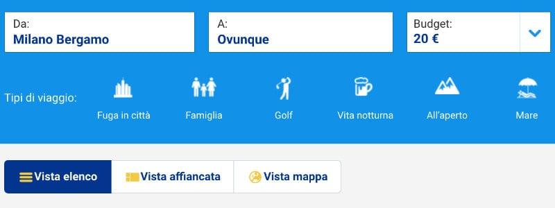 opzioni ricerca tariffe Ryanair