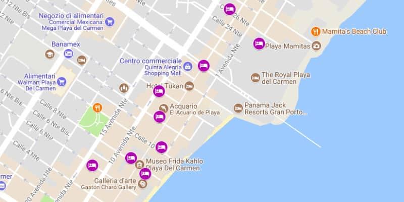 Mappa hotel resort villaggi Playa del Carmen