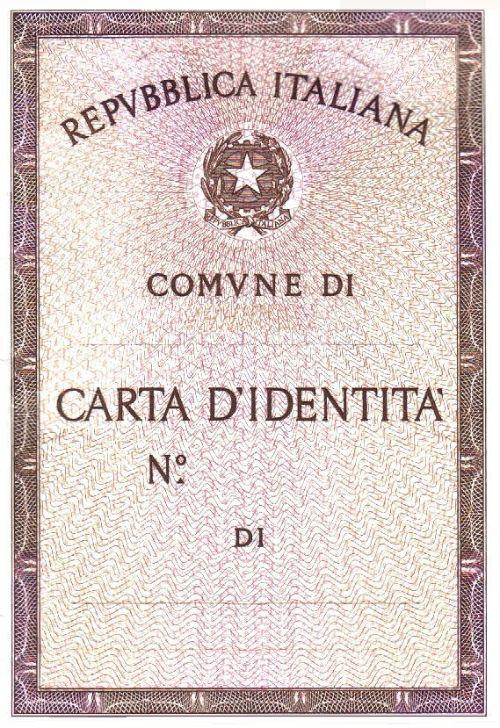 Carta identita cartacea fronte