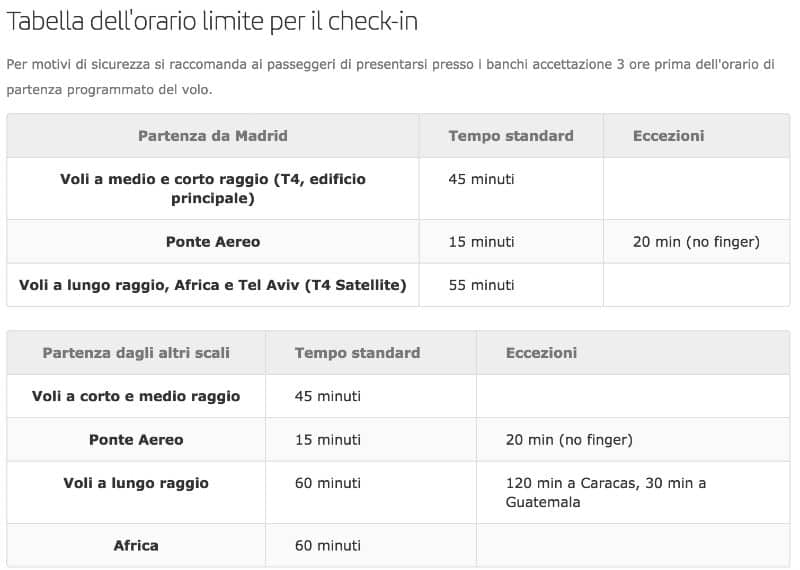 tempi web check-in Iberia