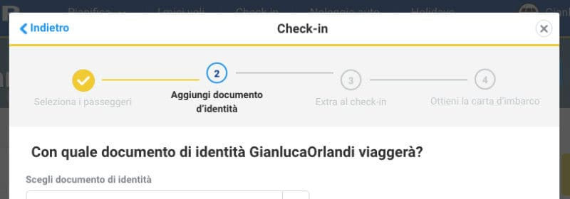 ryanair check-in documenti