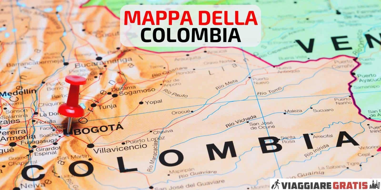 Cartina Mappa della Colombia