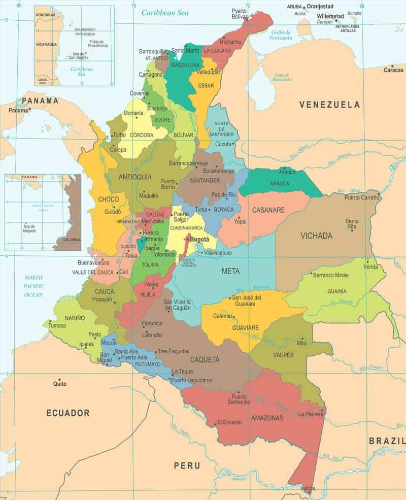 Cartina della Colombia regioni