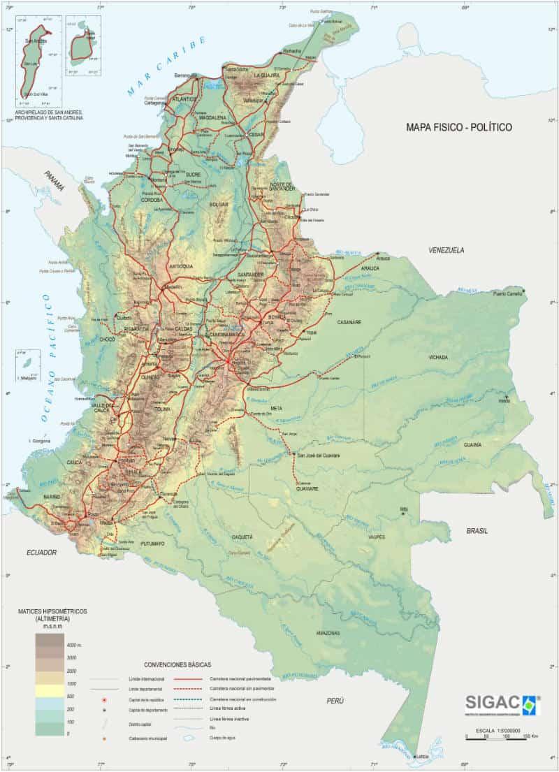 Colombia mappa fisica