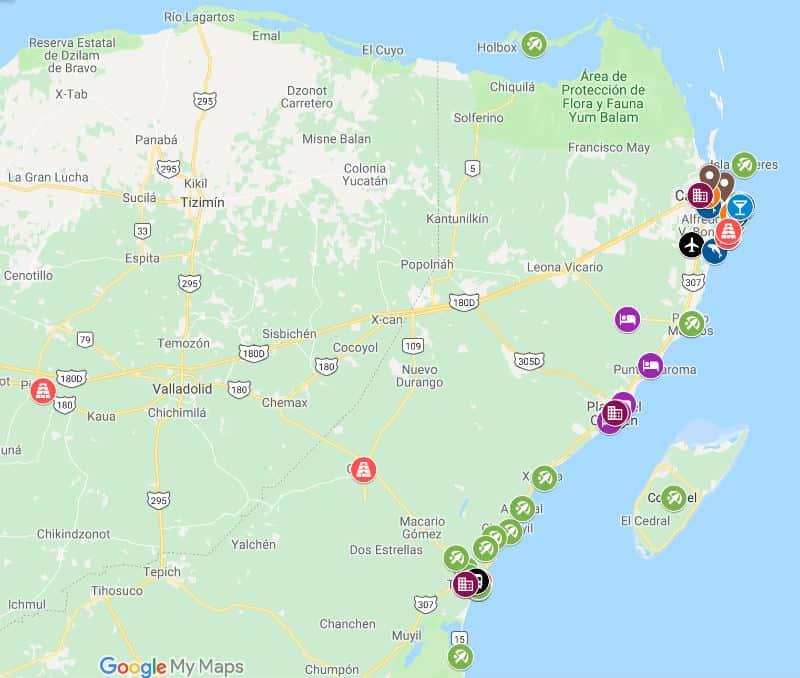 mappa riviera Maya