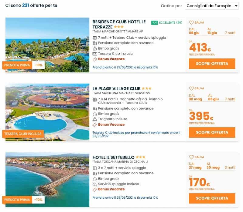 Bonus Vacanze Eurospin