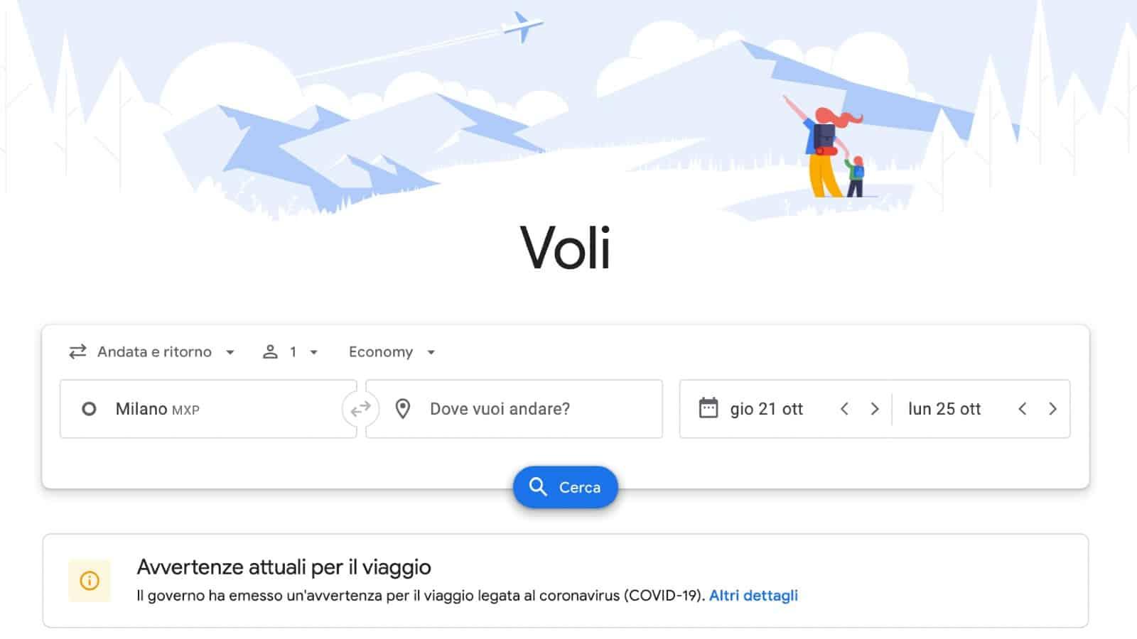 Google Flights voli low cost