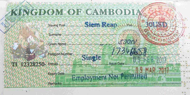 visto per la cambogia aeroporto