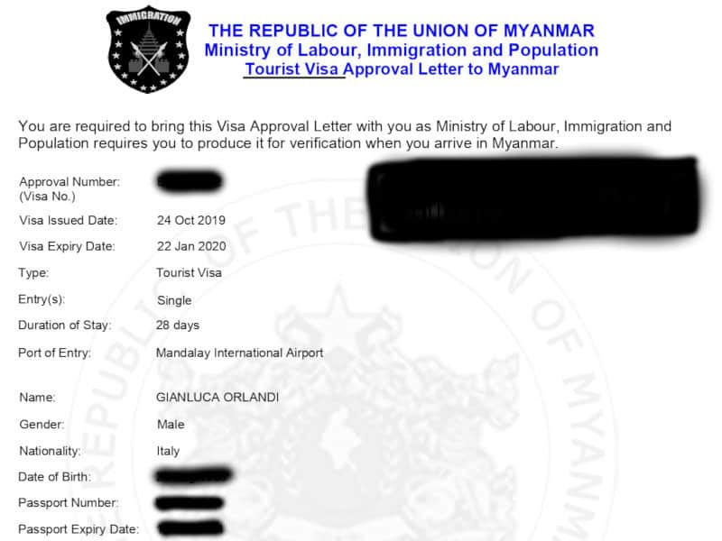 approval letter visto birmania online