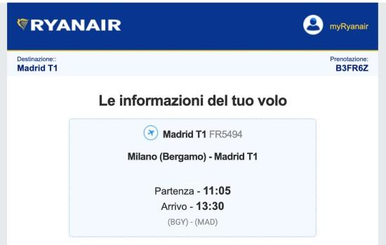 Numero prenotazione Ryanair