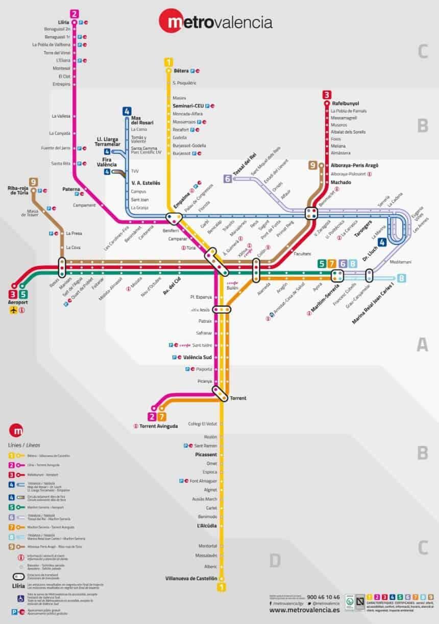 mappa metropolitana Valencia