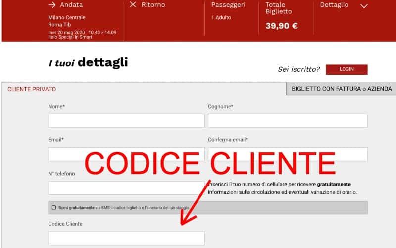 codice cliente italo