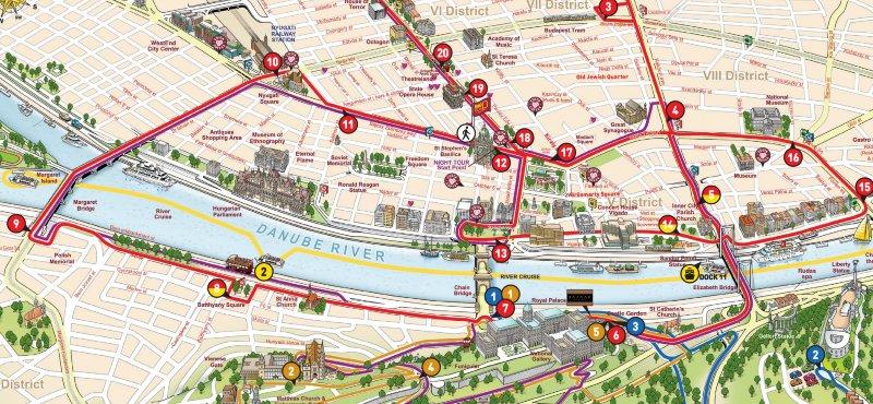 Mappa turistica Budapest monumenti attrazioni