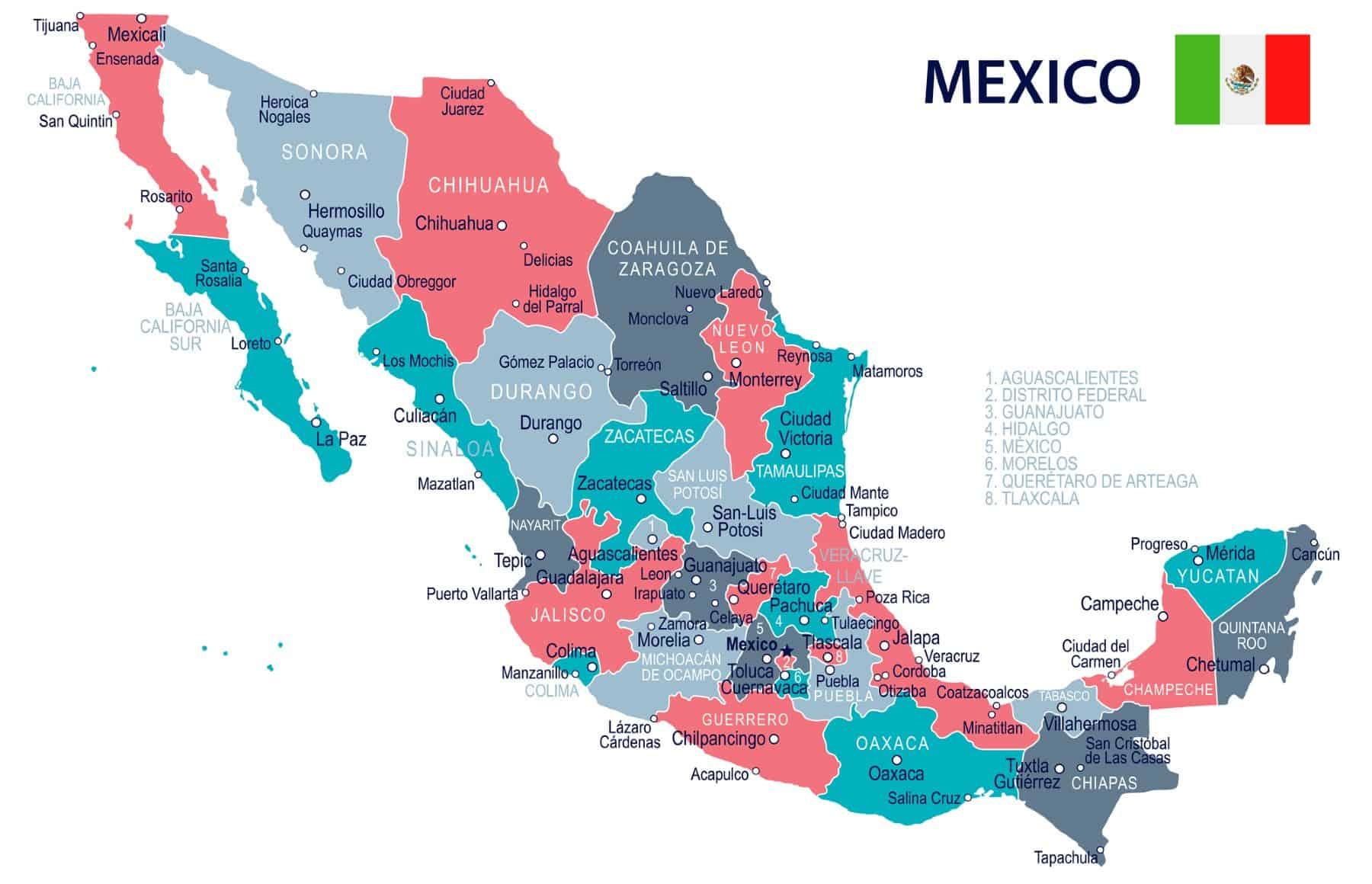 Cartina Messico politica geografica