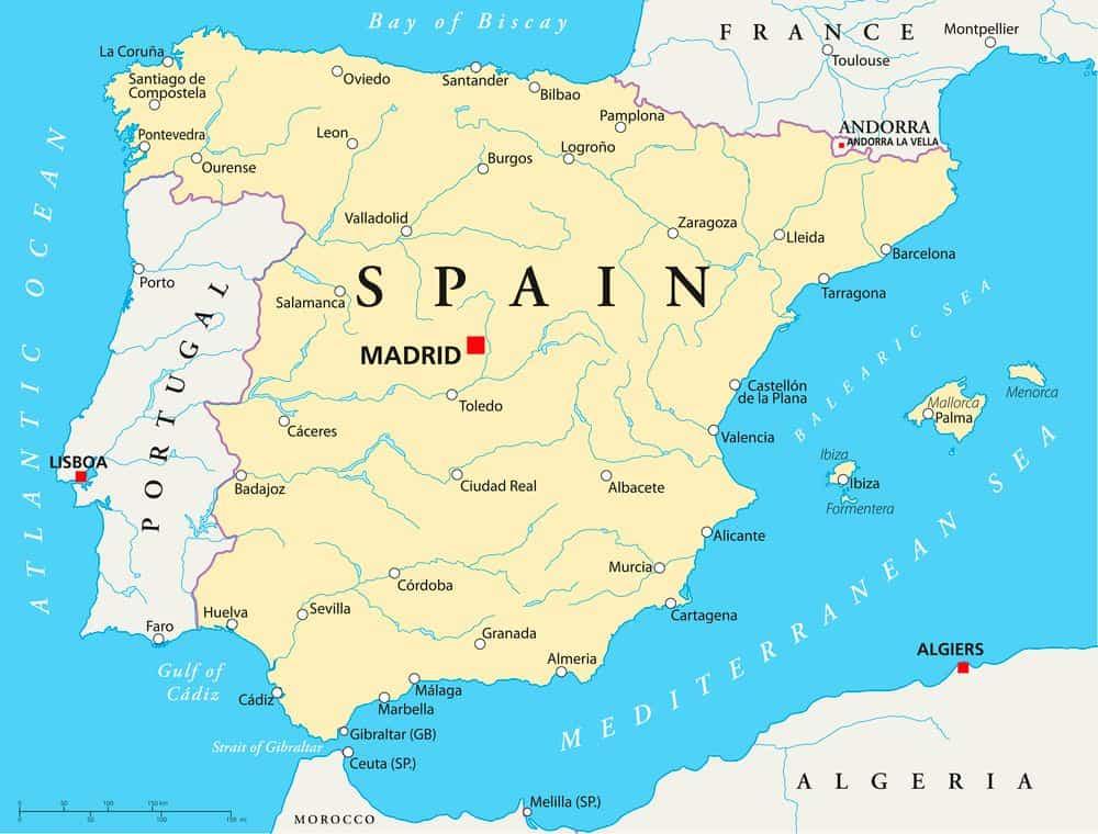 Cartina Spagna Con Regioni E Capoluoghi.Mappa Della Spagna Consulta La Cartina Della Spagna Interattiva