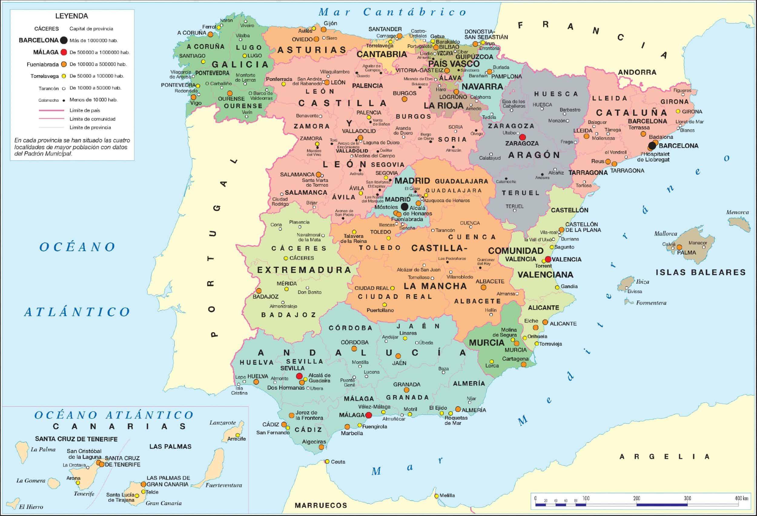 Mappa Spagna Oviedo.Mappa Della Spagna Consulta La Cartina Della Spagna Interattiva