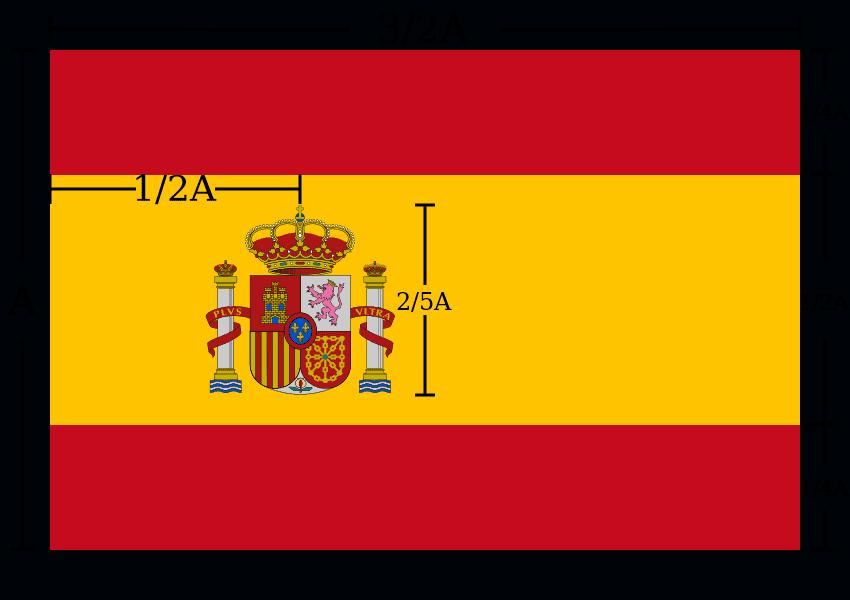 Bandiera Spagna dimensioni colori