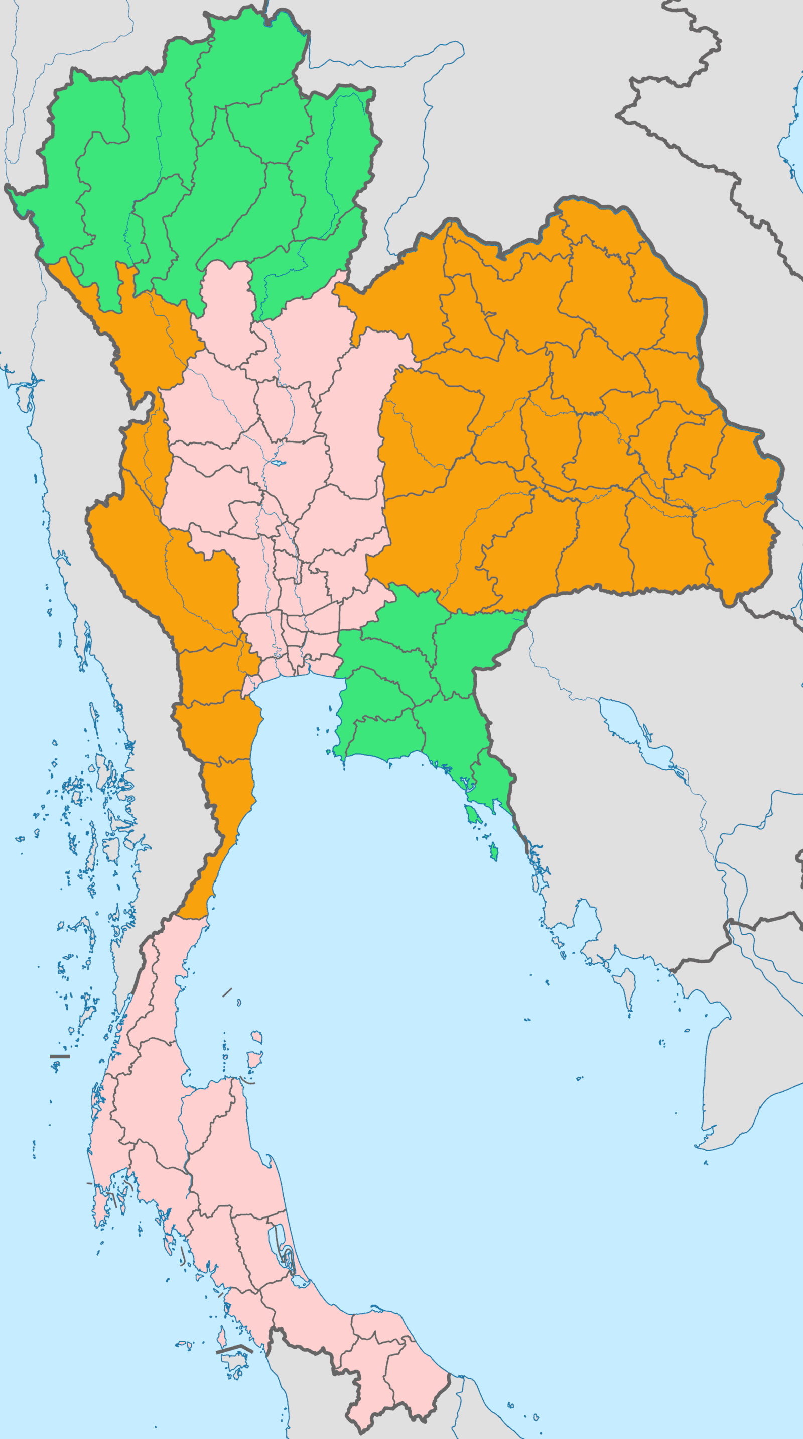Thailandia mappa regioni