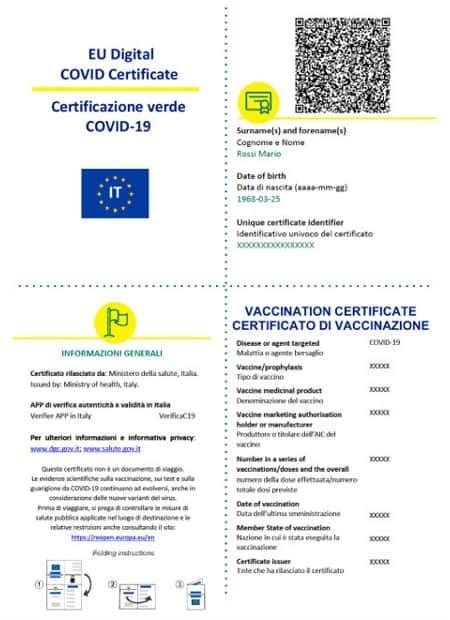 Green Pass certificazione verde Covid 19