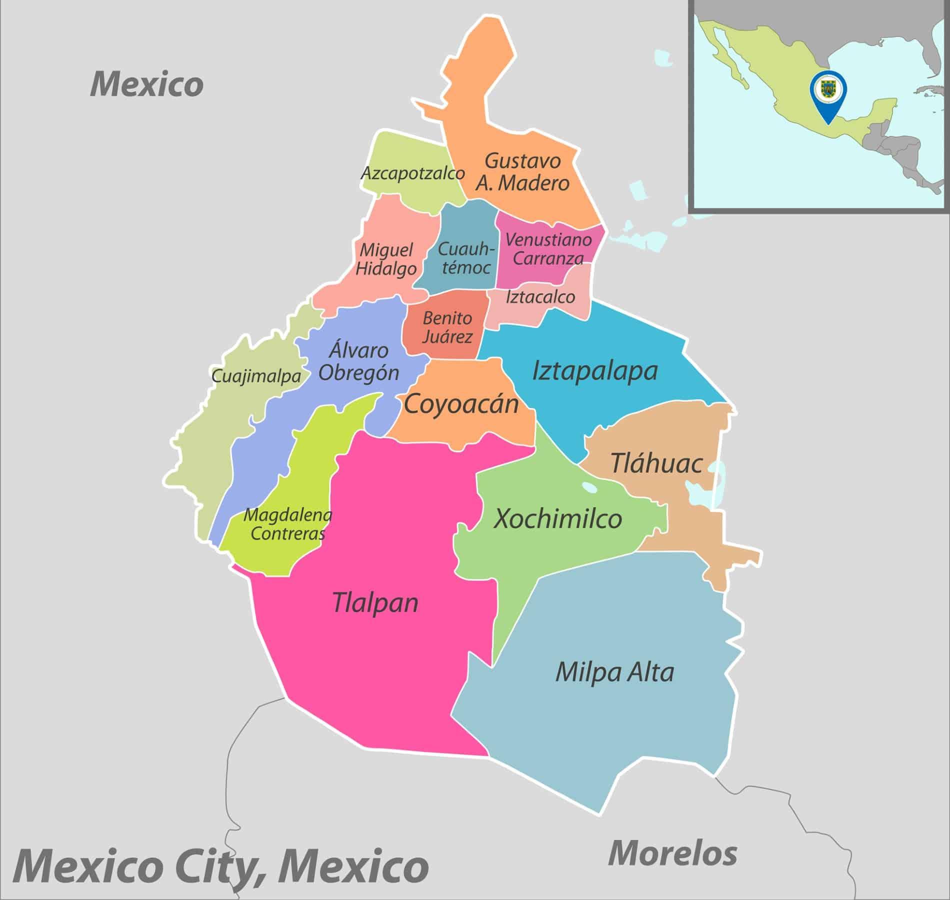 Mappa Citta del Messico
