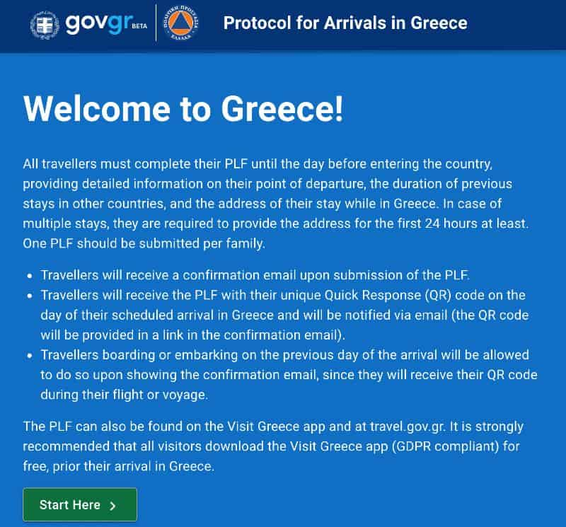 Passenger Locator Form Grecia