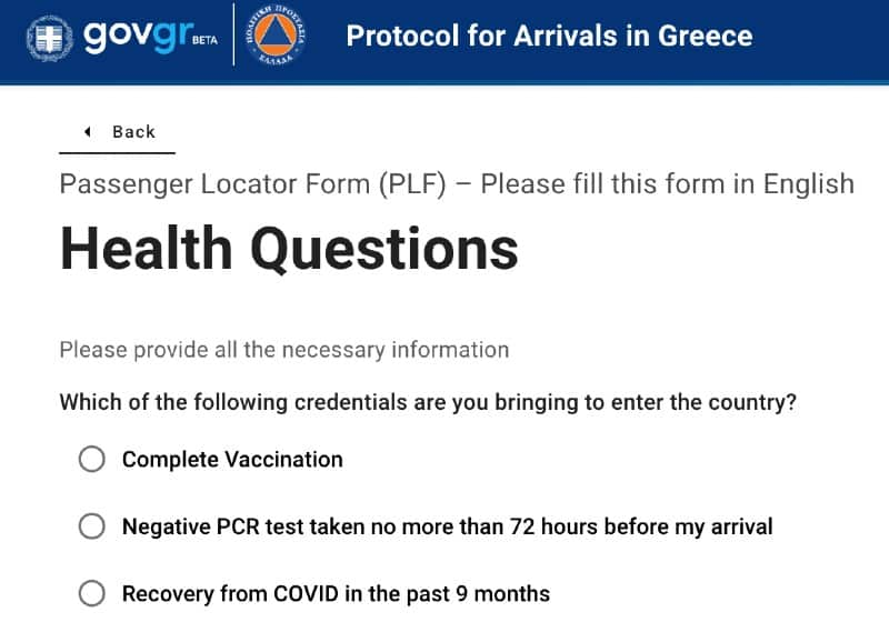 requisiti viaggio Grecia Covid 19